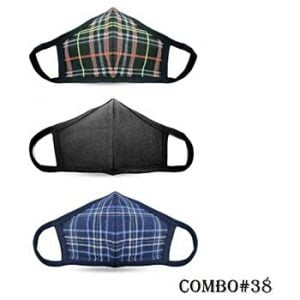 Unisex Washable 2-Layer Protective Masks – Black Stripe/Plain Black/Blue Stripe Units per case: 60 $4